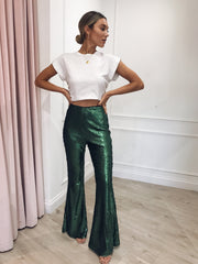 Outlet Jovi Sequin Trousers - Green, Bottoms - Pretty Lavish