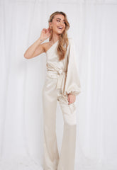 Amari Flared Trousers - Champagne, Bottoms - Pretty Lavish