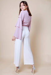 Ruffle Sleeve Tie Front Crop Top - Blush, Top - Pretty Lavish