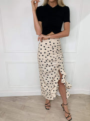 Exton Ruffle Midi Skirt - Beige Polka Dot, Bottoms - Pretty Lavish