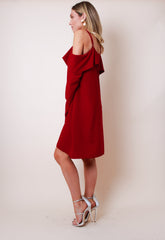 Cold Shoulder Long Sleeve Smock Dress - Red, Dress - Pretty Lavish