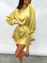 Leah Belted Smock Dress - Yellow