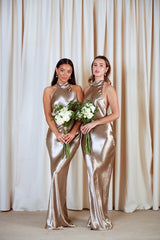 BRIDESMAIDS Raleigh Halterneck Maxi Dress - Liquid Olive, Dress - Pretty Lavish