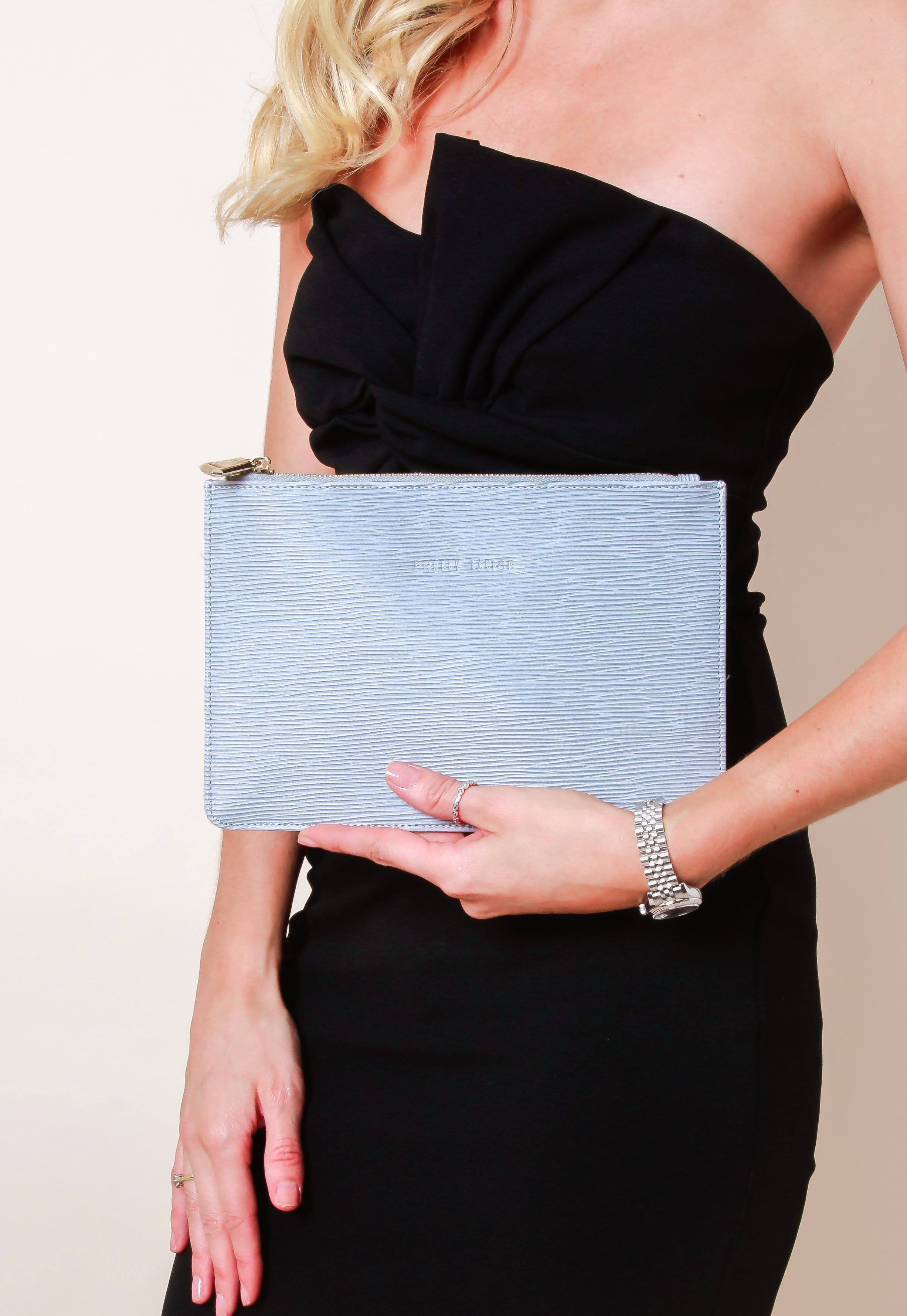 Outlet Small Ribbed Leather Clutch Bag - Grey, Bags - Pretty Lavish
