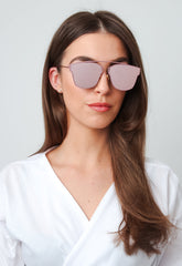 Mirrored Frameless Sunglasses - Pink, sunglasses - Pretty Lavish