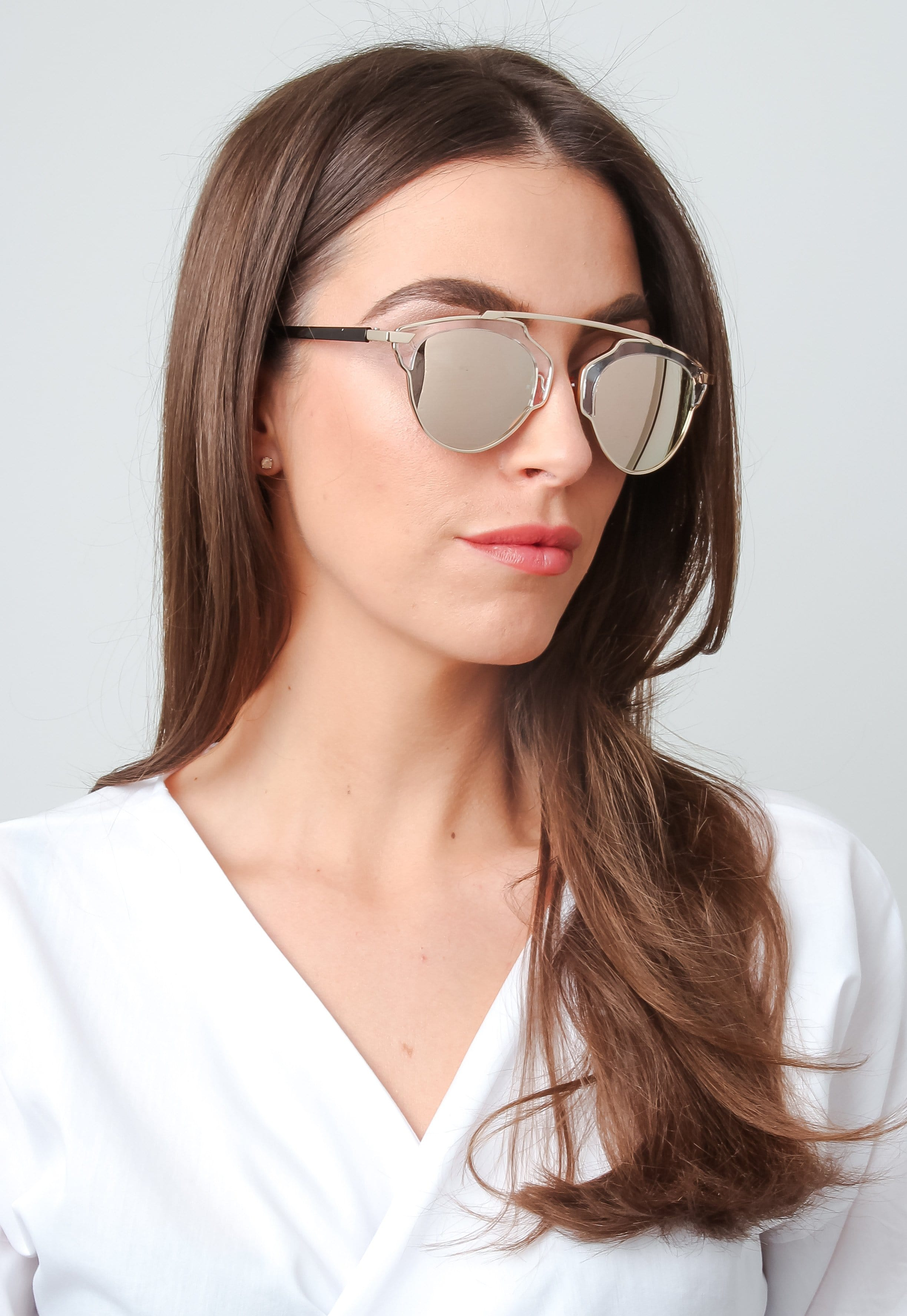 Mirrored Framed Sunglasses - Rose Gold, sunglasses - Pretty Lavish