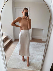 Shelby Slit Skirt - Oyster
