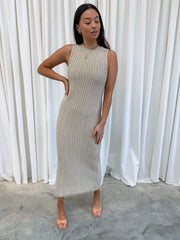 Celine Crochet Dress - Taupe