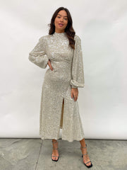 Nina Sequin Split Dress - Silver