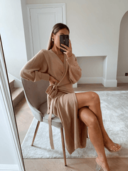 Beau Wrap Midi Dress - Dusky Pink