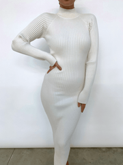 Abbey Ribbed Knit Dress - Cream