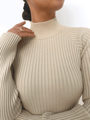 Abbey Ribbed Knit Dress - Light Beige