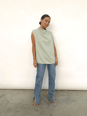 Farrah Funnel Neck Blouse - Sage (4810382213213)
