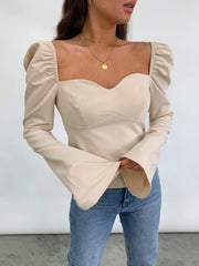 London Puff Sleeve Blouse - Nude