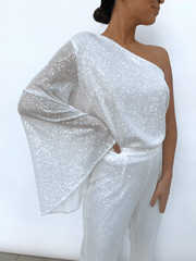 Rosie Sequin One Shoulder Blouse - White