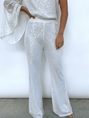Rosie Sequin Trousers - White