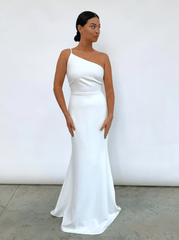 Amelia Maxi Dress - White Crepe