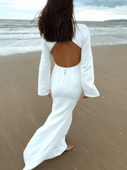 Olivia Backless Maxi Dress - White Crepe