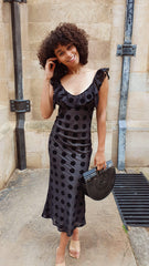 Cruz Midi Dress - Black Polka Dot