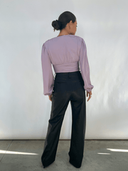 Hazel Ruched Blouse - Lilac (4812053315677)