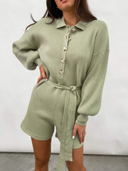 Darcie Balloon Sleeve Knit Playsuit - Olive Green