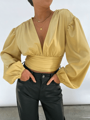 Hazel Ruched Blouse - Yellow