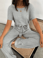 Claude Ribbed Loungewear Jumpsuit - Grey