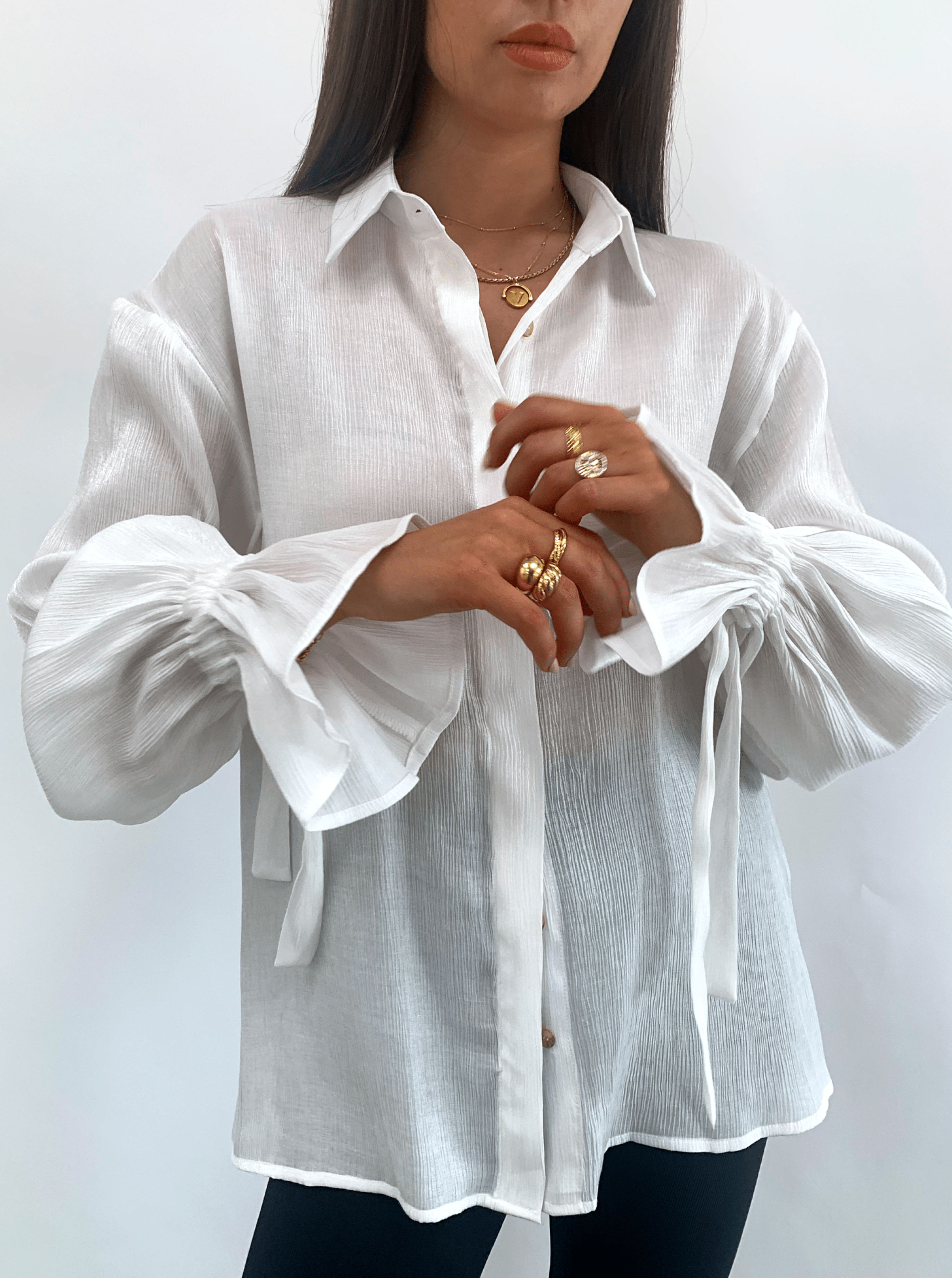 Demi Metallic Tie Cuff Blouse - White