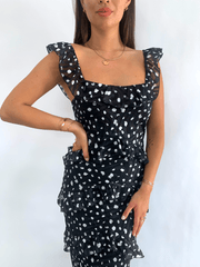 Cecile Ruffle Maxi Dress - Black Spot