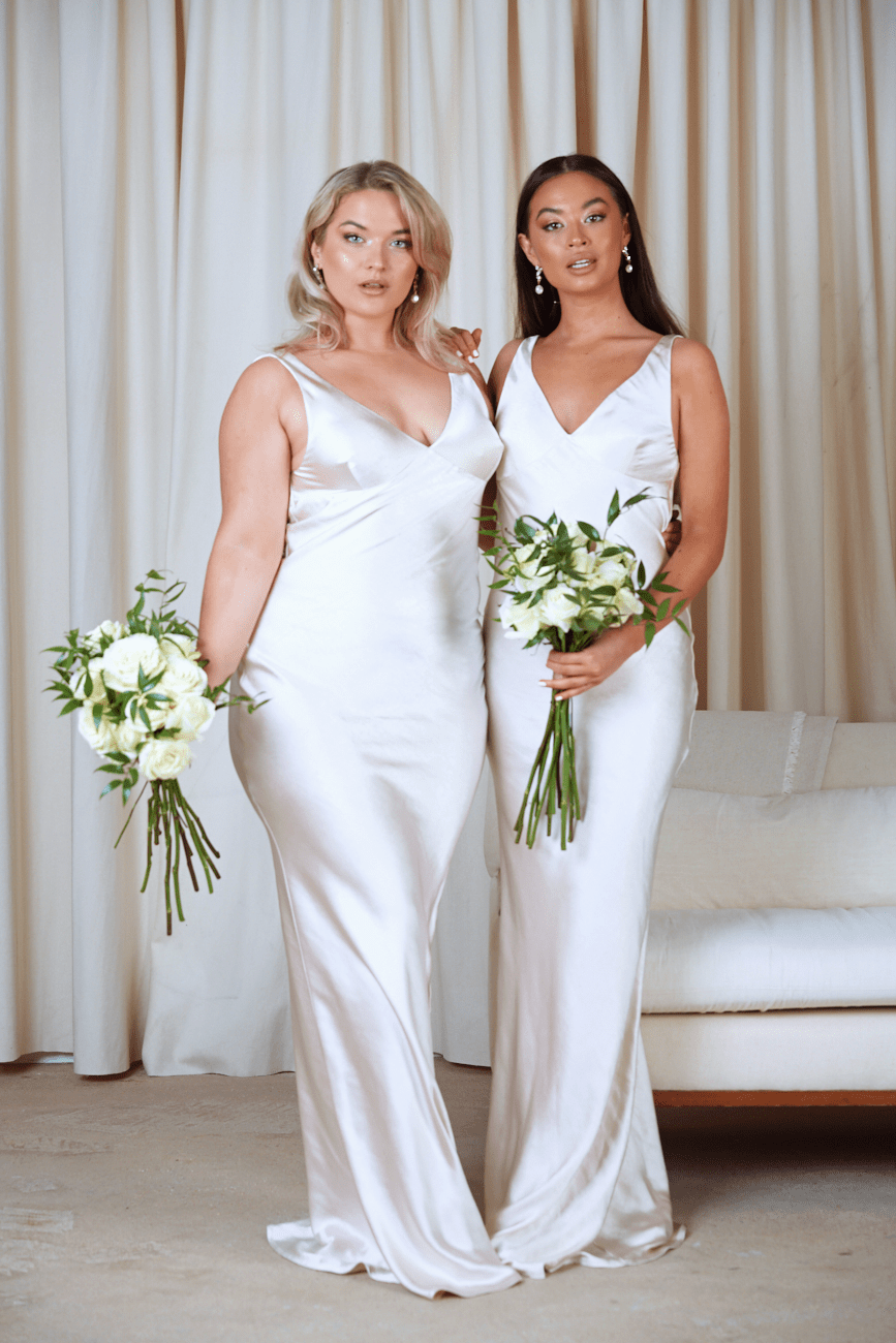 BRIDESMAIDS Piper Maxi Dress - Matte Oyster, Dress - Pretty Lavish