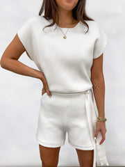 Gracie Belted Knit Playsuit - Cream