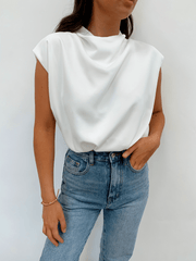 Farrah Funnel Neck Blouse - White