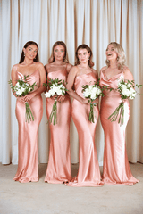 BRIDESMAIDS Amelia Maxi Dress - Matte Peach Pink, Dress - Pretty Lavish