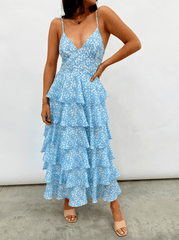 Lissy Ruffle Midaxi Dress - Blue Abstract
