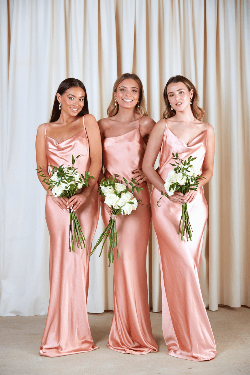 BRIDESMAIDS Keisha Maxi Dress - Matte Peach Pink, Dress - Pretty Lavish