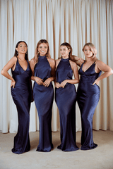 BRIDESMAIDS Raleigh Halterneck Maxi Dress - Matte Navy, Dress - Pretty Lavish