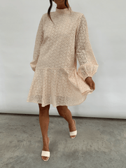 Ani Asymmetric Smock Dress  - Cream Broderie Anglaise