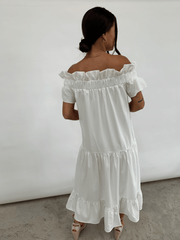 Agatha Ruffle Smock Dress - White