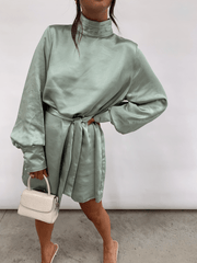 Leah Belted Smock Dress - Mint