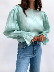 Fae Bell Sleeve Top - Mint Organza (4786775523421)