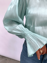 Fae Bell Sleeve Top - Mint Organza