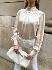Emery Pleated Blouse - Satin Oyster, Top - Pretty Lavish