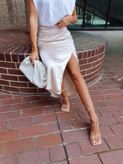 Shelby Slit Skirt - Oyster, Bottoms - Pretty Lavish