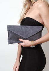 Suede Envelope Clutch Bag - Dark Grey, Bags - Pretty Lavish