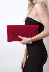 Suede Envelope Clutch Bag - Dark Red, Bags - Pretty Lavish
