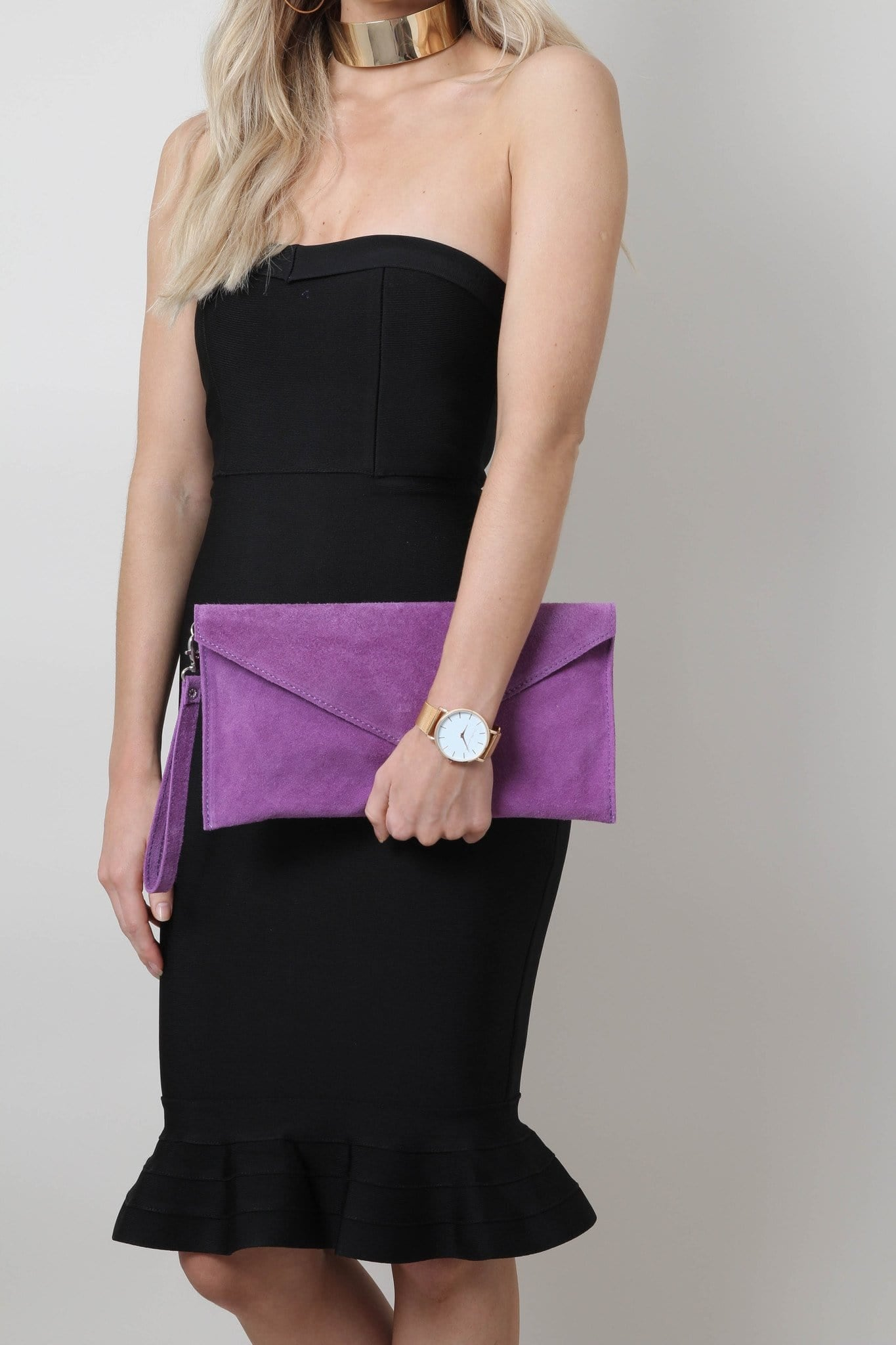 Suede Envelope Clutch Bag - Light Purple, Bags - Pretty Lavish