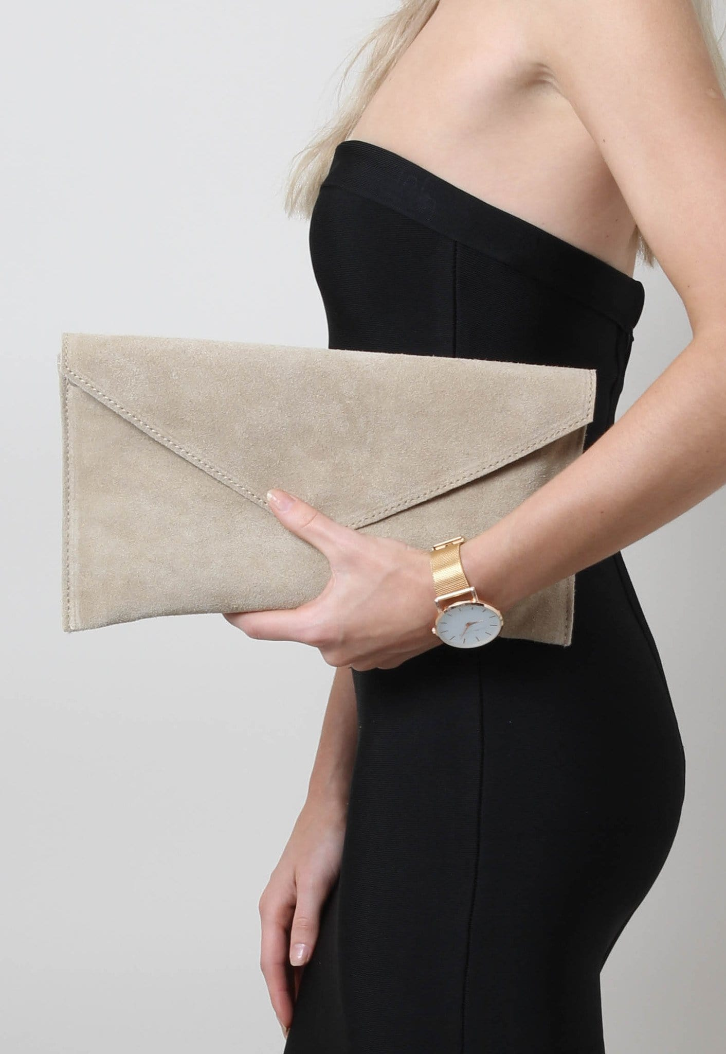 Suede Envelope Clutch Bag - Beige, Bags - Pretty Lavish
