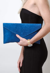 Suede Envelope Clutch Bag - Denim, Bags - Pretty Lavish