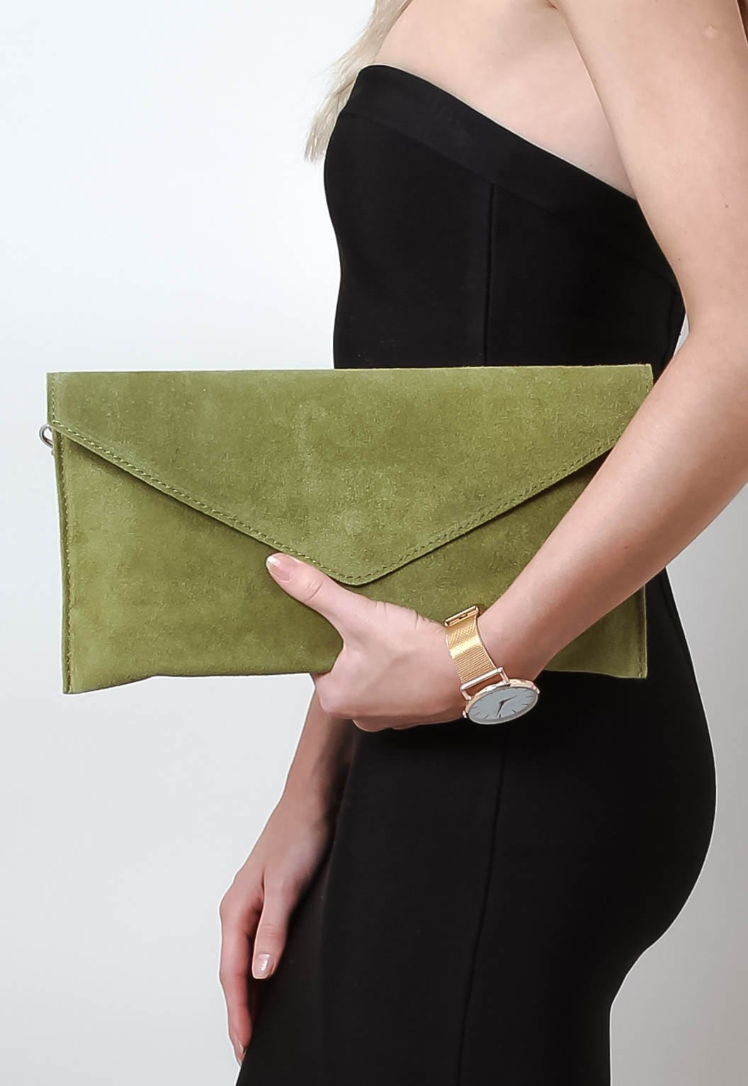 Suede Envelope Clutch Bag - Olive Green - Bags - Pretty Lavish - 1