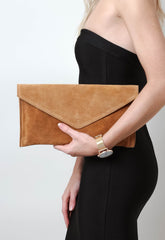 Suede Envelope Clutch Bag - Tan, Bags - Pretty Lavish